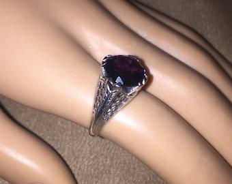 Vintage Sterling Silver AMETHYST Filigree Ring size 6