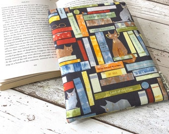 Cat Tails Book Buddy, Paperback Book Sleeve, Cat and Book Gift, Bookstagram Accessory, Small Padded Book Cover, Shelfie Book Pouch