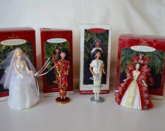 Set of 4 Hallmark Barbie Christmas Ornaments