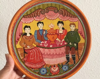 Russian Folk Art Painted Plate Souvenir Wall Hanging