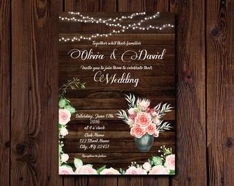 Rustic Wedding Invitation, Fall Wedding Invitation Printable Wedding Invitation Suite, Mason Jar Rose Wedding Invitation barn Wedding