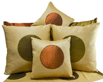 Beige metallic pillow cover, Copper Pillow, Green metallic, Embroidery Applique, Medallion pillow, Classic Pearl ivory bronze, 16X16, 12X12