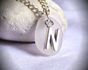 CLEARANCE Initial N Pendant, Initial N Jewelry, Initial N Jewellery, Sea Glass Jewelry, Sea Glass Initial, Seaglass, Alphabet -PC17022