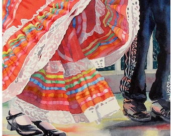 Imprime mexicain, Cinco de Mayo, décor de mur mexicain, Art Sale, art populaire mexicain, art populaire costume estampes, danse mexicaine, impression d'aquarelle