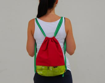 Red Gym Bag, Fabric Backpack, recycled Backpack, eco friendly backpack, gift for her, red, green, school bag, school backpack, vegan