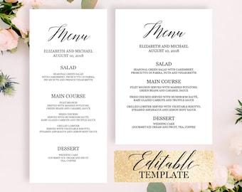 Dinner Party Menu Template, Editable PDF, Wedding Buffet Menu Template,  Black U0026 White