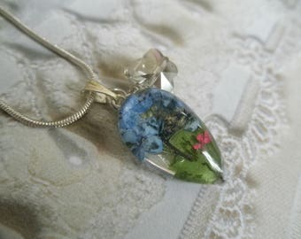 Blue Forget-Me-Nots,Pink Queen Anne's Lace, Ferns,Butterfly Charm Pressed Flower Glass Teardrop Pendant-Symbolizes True Love, Peace,Memories