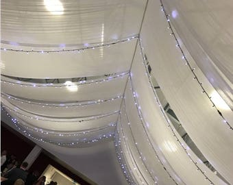 Sheer Voile white pure 35 meters, width 300cm, Deco wedding, photo shoot, opaque light side see photo