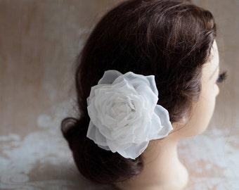 Bridal Hair Accessory, White Flower Hair Clip, White Bridal Rose, White Chiffon Flower, White Bridal Clip, Wedding Headpiece