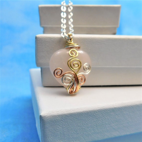 Rose Quartz Necklace Gemstone Pendant Girlfriend Gift Pink Heart Shaped Gem Wire Wrapped Stone Jewelry Wearable Art Present Ideas for Women