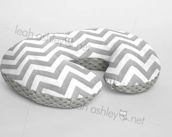 Boppy® Cover, Nursing Pillow Cover - Gray Chevron MINKY with Gray MINKY Dot or MINKY Smooth - Choose Your Minky Type - BC2