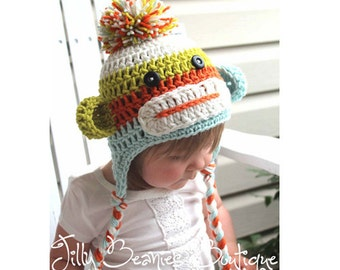 Sock Monkey Hat, Baby Hats, Monkey Hats, Baby Boy Hats, Boy Hats, Girl Hats, Crochet Hats, Photo Prop, Children Hats, Kids Hats