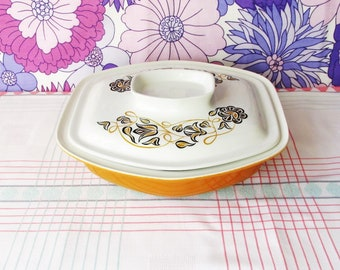 Vintage Poole Pottery Tureen/Serving Dish with Lid,  Pattern Desert Song, Pat Summers, Vintage Serving Dish, Gift Idea, Flowers,