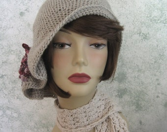 Crochet Pattern Womens Hat Flapper Style Hat With Pleats And Bow Trim Instant Download
