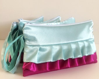 Personalized Set of 4 Aqua Fuchsia Horizontal Ruffled Bridesmaids Wristlets