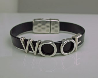 Bracelet for Dog Lovers - Woof Leather Bracelet Snap Closure in Choice of Color