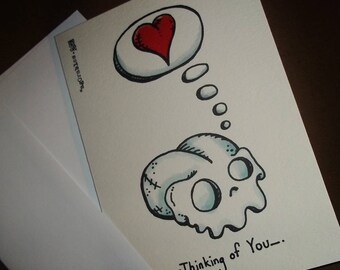 Thinking of You Love Card Cute Agorables' Skull Valentine's Day Romantic 5x7 Greeting Card Blank inside by Agorables Tattoo Flash Style