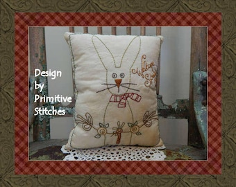 Welcome Spring-Bunny-Primitive Stitchery E-PATTERN-INSTANT DOWNLOAD