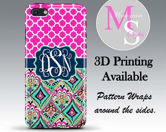 Monogram iPhone 8 Tough Case Personalized Phone Case iPhone 6, 6S, 7 Plus Lilly Pulitzer Inspired Monogrammed iPhone 4, 5, 5S 5C Case #2693