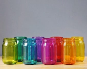 Kitchen Storage Canisters, Mason Jar Set of 8, Rainbow Colors, For Bright Home Decor
