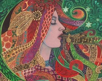 Mezzo Goddess 5x7 Blank Greeting Card Art Nouveau Pagan Mythology Psychedelic Bohemian Gypsy Music Witch Goddess Art