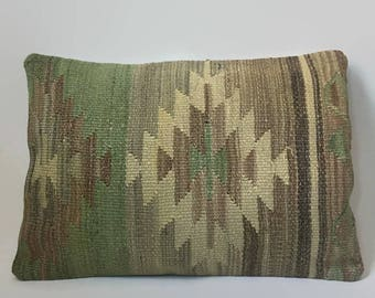Tan Kilim Pillow, Cream Kilim Pillow, Turkish Pillow, Moroccan Pillow, Decorative Pillow