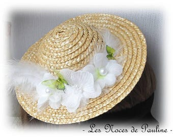 Headband green and white straw hat and flowers Tess Chapeau straw child bridesmaid