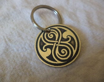 Dr. Who inspired etched brass keychain