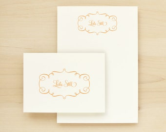 TWIRL Custom Stationery + Notepad Bundle - Custom Stationary Notecards Personalized - Pretty Feminine