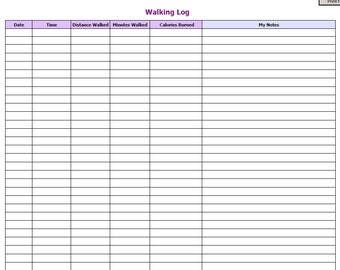 Walking Log / Fitness/ Exercise / PDF Instant Download