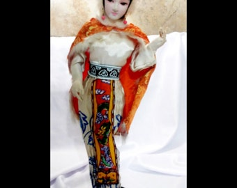 vintage, ASIAN ART DOLL, silk, doll, accessories, collectibles, Asian