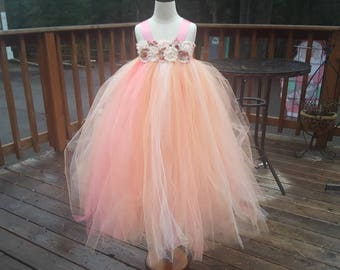 Peach , coral ,  ivory flower girl dress. Empire waist. Special orders welcomed.