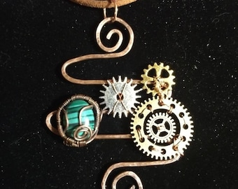 Steampunk pendant with malachite in recycled copper wire