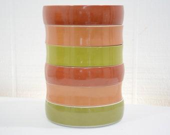BLOCK Gold Brown Chromatics Dinnerware Made in Germany - Dessert Plates, Salad Plates, Bowls - YOU CHOOSE - Fall, Autumn, Retro 70s Orange