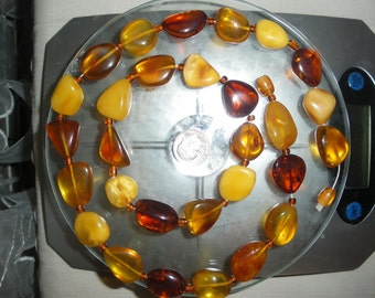 Natural Antique Baltic Amber   necklace, wristband  50 gram = 1.8 ounce. 45 cent.= 17.7 inch.