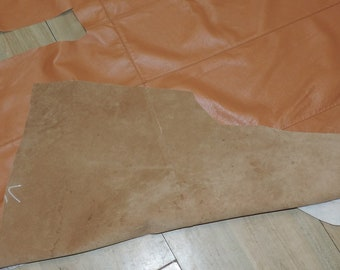Vintage Lot of Wonderful Soft Carmel Leather Cut from Long Coat to Repurpose Crafts Sewing