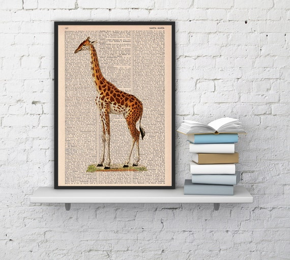 Giraffe Dictionary Book Print  Altered art on upcycled book pages ANI011