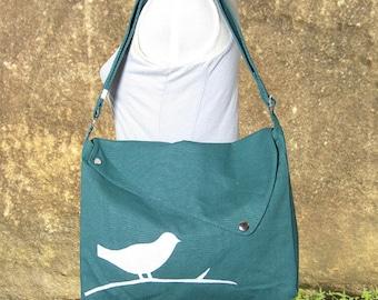 Teal green cotton canvas messenger bag / shoulder bag / bird messenger /diaper bag / cross body bag / travel bag / hand bag / shopping bag