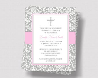 FIRST COMMUNION INVITATION for Girls / Personalized Gray and Pink Damask Invitation for First Communion / Baptism or Confirmation Invitation
