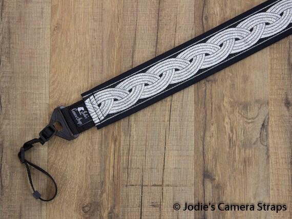 Celtic Black 2 in Wide Camera Strap Custom Padded Metallic Silver Celtic Knot on Black DSLR SLR