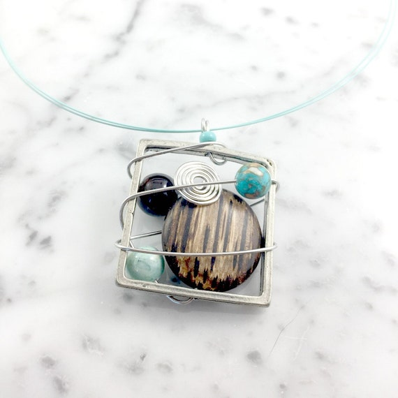 Square metal stainless necklace colors, brown, turquoise, mint, blue, beads pewter and stainless steel tiger tails, les perles rares