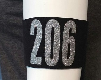 Roller Derby Arm Bands Pair-Glitter Numbers!