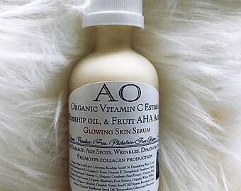 Organic Vitamin C Ester & Rosehip oil and Fruit AHA Acids Serene Skin Serum