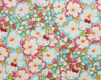 SALE - Liberty tana lawn - Floral Heart - Hello Kitty printed in Japan - Light blue mix