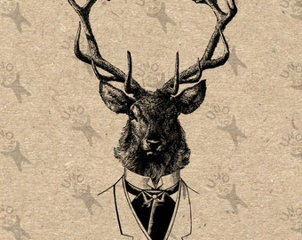 Vintage image Deer in suit Horns Instant Download Digital printable clipart graphic Burlap Fabric Transfer Iron On Pillows etc 300dpi
