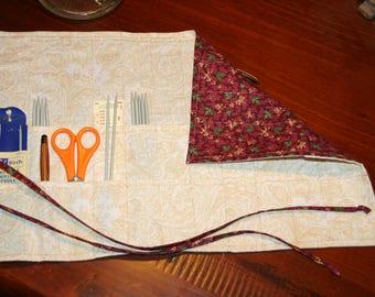 Knitting needle case. Crochet hook organisor. Needle storage, hook storage, roll up. Floral. Red. Maroon. Cream paisley lining.  Fabric.