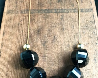 Vintage Faceted Black Acrylic Beaded Necklace