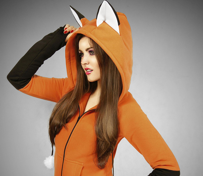 Hoodie fox orange kawaii nerd cosplay anime ears