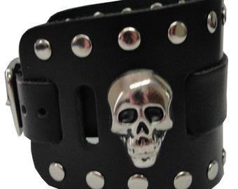 Skull Head Concho Handmade Black Buckle Wide Genuine Leather Watchband Military Biker Rocker U.S.A. NYC Cuff Wristband Bracelet