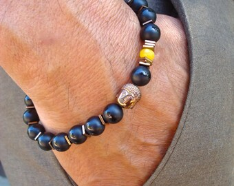 Men's Spiritual Tibetan Serenity, Protection, Fortune Bracelet with Semi Precious Matte Onyx, Yellow Jade, Hematite Buddha - David Beckham